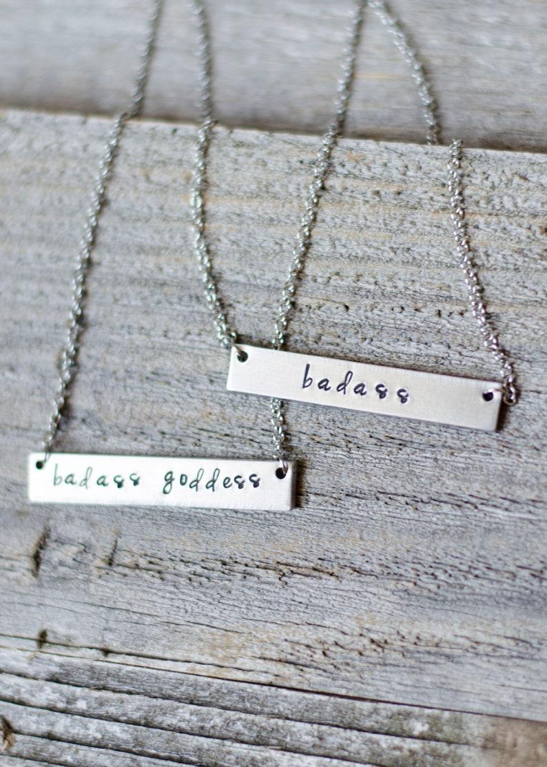 Badass Silver Bar Necklace Badass Goddess Necklace Hand image 0