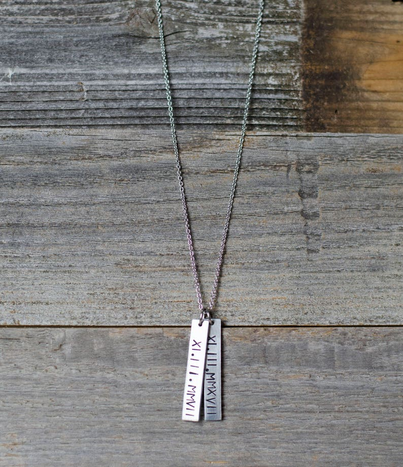 Personalized Silver Bar Necklace Roman Numeral Pendant image 0