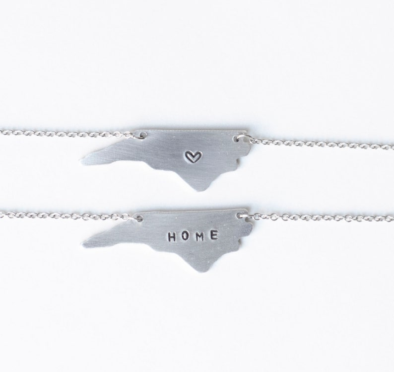 North Carolina Necklace State Necklaces with Heart Hand image 0