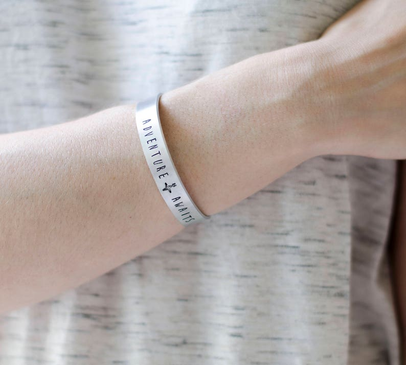 Adventure Awaits Silver Cuff Bracelet Hand Stamped Jewelry image 0