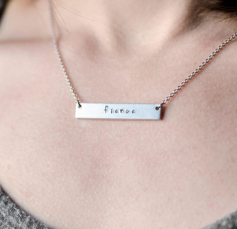 Engraved Bar Necklace Personalized Necklace for Her Custom image 0