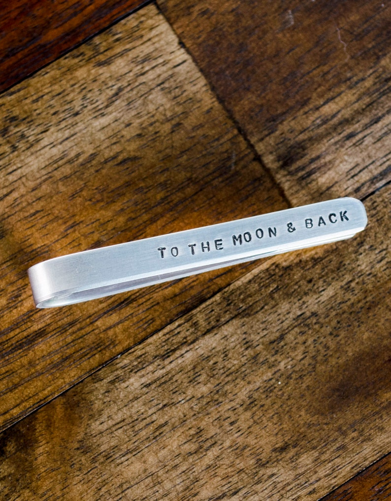To the Moon and Back Personalized Tie Clip Tie Bar Engraved image 0