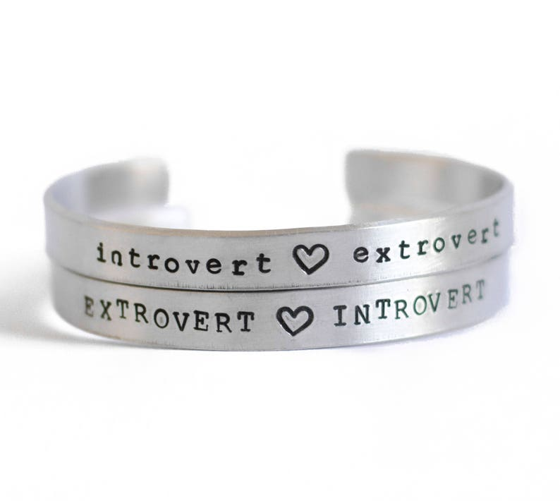 Introvert Extrovert Silver Bracelet for Women Engraved image 0