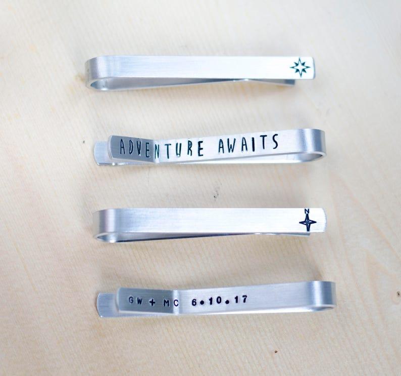 Compass Tie Clip Tie Bar Personalized Tie Clip Engraved Tie image 0
