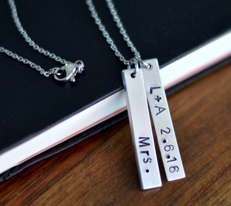 Mrs. Personalized Vertical Bar Necklace Monogram Necklace image 0