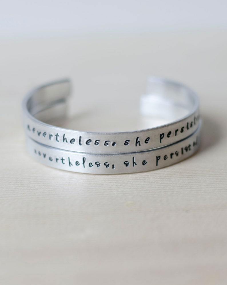 Nevertheless She Persisted Silver Cuff Bracelet image 0
