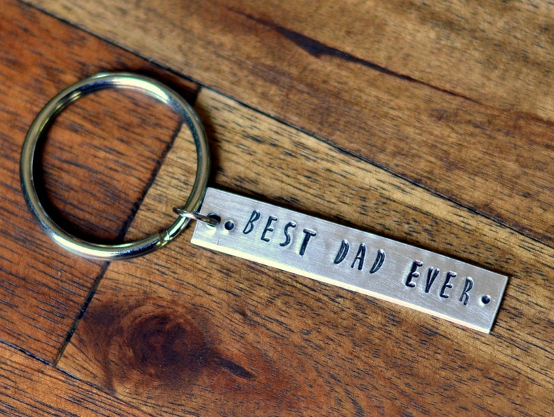 Best Dad Ever Custom Keychain New Dad Gift Engraved image 0