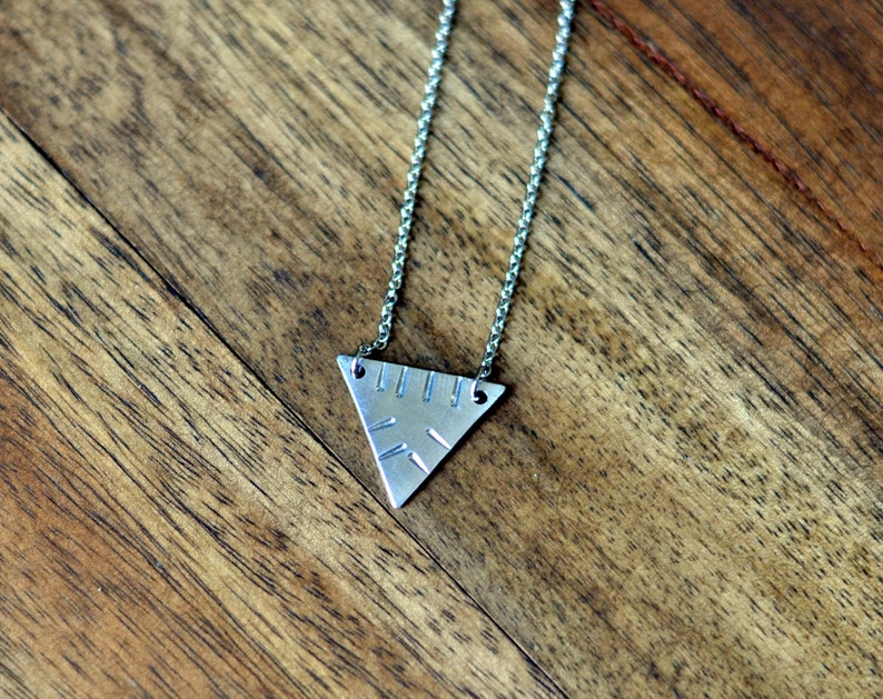Silver Triangle Necklace Delicate Silver Necklace Aztec image 0