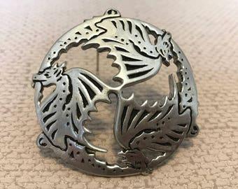 Vintage St Justin Pewter Dragon Brooch