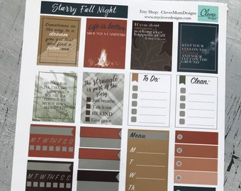 Starry Fall Nights planner stickers