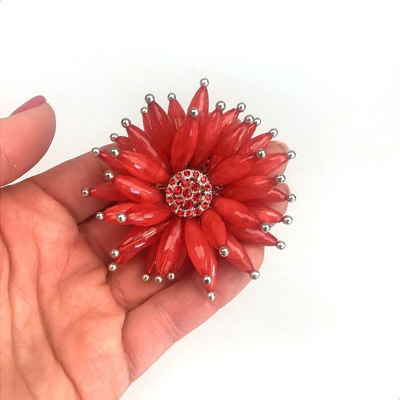 Coral flower brooch Flower blossom pin Red flower brooch Chunky brooch Large floral brooch