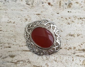 Vintage & Antique Jewelry Vtg 800 Silver Real Carnelian Gemstone Arabic Pin Brooch