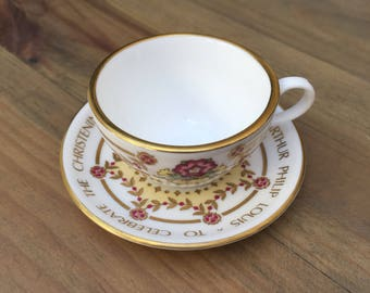 Miniature Spode Cup & Saucer- Commemorating The Christening Of H.R.H Prince William- 4th August 1982