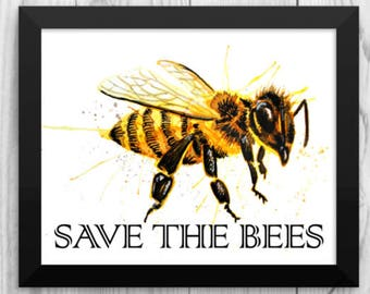 Save the Bees Poster Bumble Bee Hive Honey Bee wall Art insect Print watercolor Picture nursery office decor decoration gift watercolor