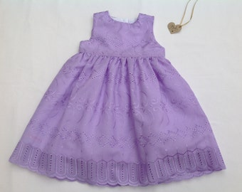 Girls lilac party dress, baby dress, toddler dress, occasion dress,  broidere anglaise dress, fully lined,  6/12months
