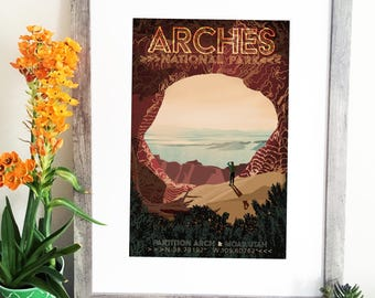 Arches National Park Illustration - Partition Arch - Utah Travel Poster - Moab - Hiking