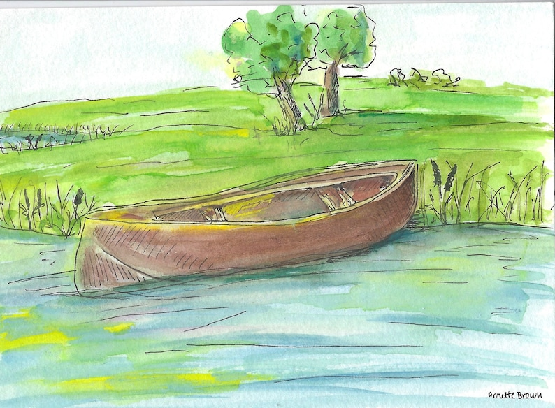 Canoe Sleeping on lake shore Medium 5x7 ORIGINAL painting with Mat in Black  or White Frame (9 x 11 inch outer dimensions)