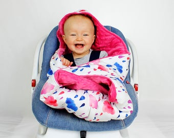 Girl Car Seat Blanket Infant Handmade CarSeat Swaddle Travel Wrap Hooded High Quality Cotton And Minky