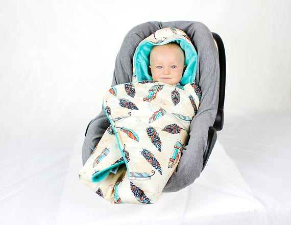 Feather Car Seat Blanket Hooded Car Seat Blanket Stroller Etsy
