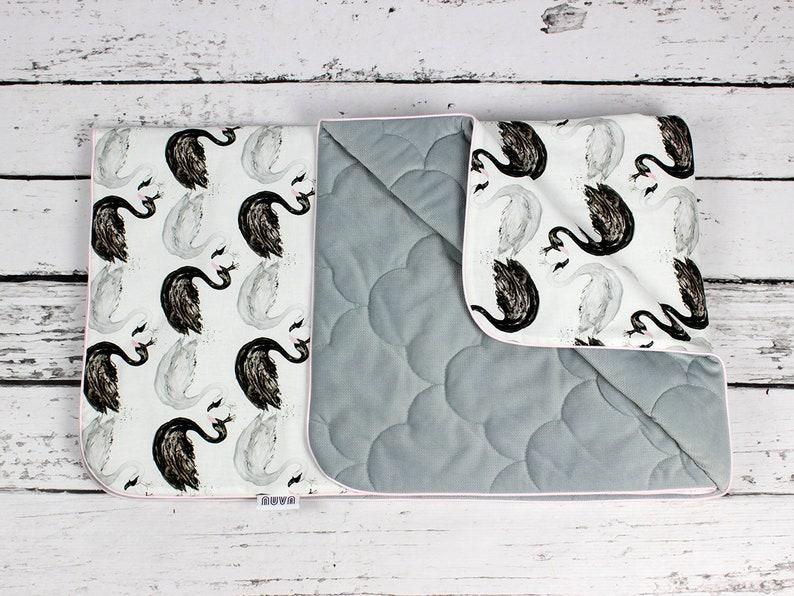 Swan Baby Blanket Size Infant or Toddler Nuva Monochrome Bedding Girl Minky Velvet blanket