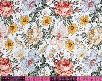 """Vintage Garden Flowers Cotton Fabric, Floral Garden Modern Nursery, Premium Digital Print Cotton, Width 155cm /61"""""""