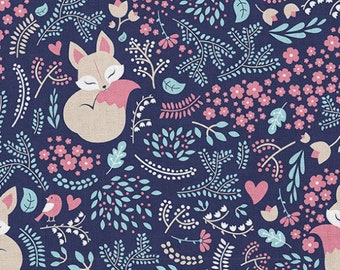 "Sleeping Fox Navy Cotton Fabric, Woodland Fox Modern Nursery, Premium Digital Print Cotton, Width 155cm /61"""