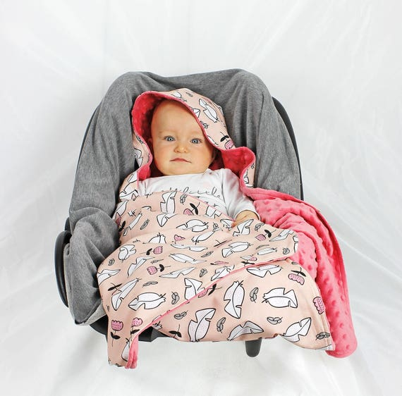Car Seat Wrap Blanket Hooded Feather