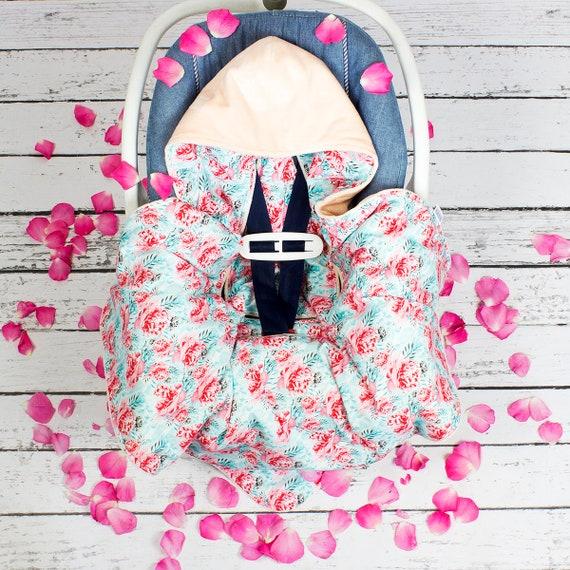 Flower Car Seat Blanket Infant Handmade CarSeat Swaddle