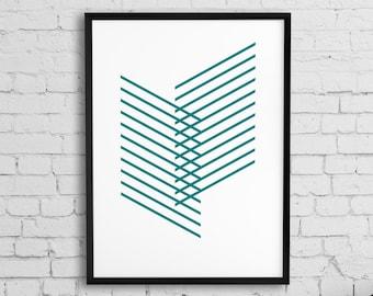 Geometric print, Printable minimlist poster, wall art print, Teal art, Abstract line art poster