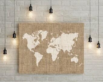 Printable burlap world map wall art, Rustic wall decor, Home wall print, World map poster, Large printable map art