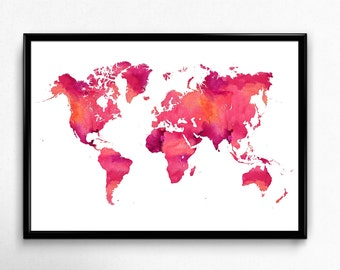 Watercolor world map printable, Watercolor print, World map wall art, Map art, Printable illustration, Travel poster