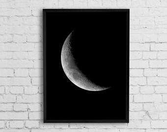 Crescent moon art print, Moon phase print, Moon poster, Moon art, Black and white printable art, Large print, Astronomy poster