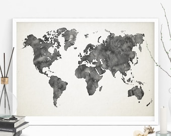Printable grey watercolor world map, World map poster, Office decor, School wall art, Watercolor art print, printable wall art