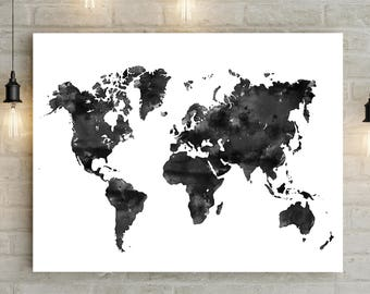 Watercolor world map etsy watercolor world map printable gumiabroncs Image collections