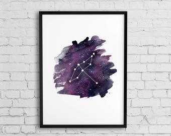 Cygnus constellation, Cygnus Art Print, Constellation Printable,  the Swan, astronomy poster,  Star Chart Space Astronomy Print