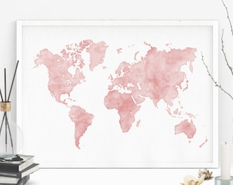 Pink Map Etsy - Pink world map poster