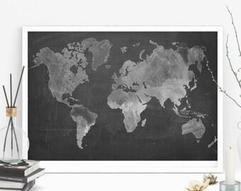 Printable world map, Chalkboard map, chalkdrawing world map, ptintable chalkboard art