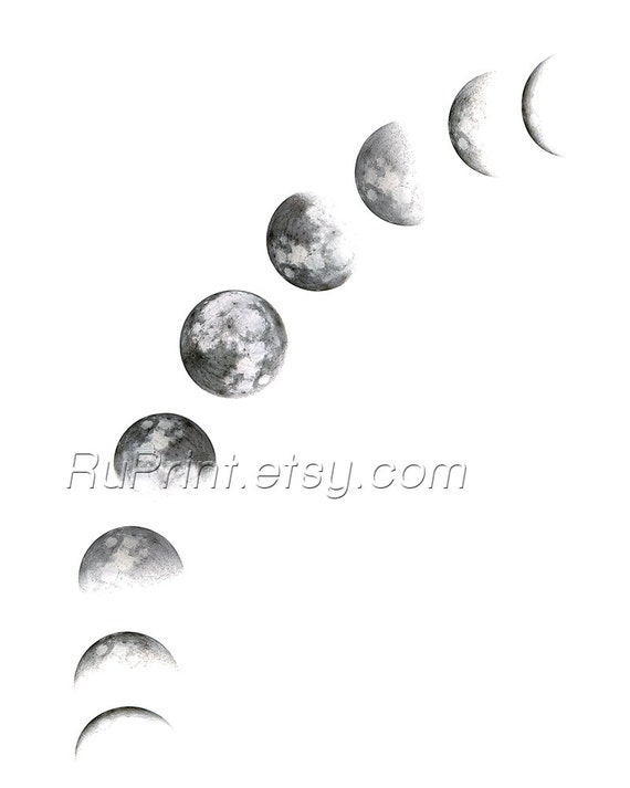 image relating to Moon Phases Printable identified as Moon levels printable wall artwork Revolutionary artwork Moon poster Black and white artwork