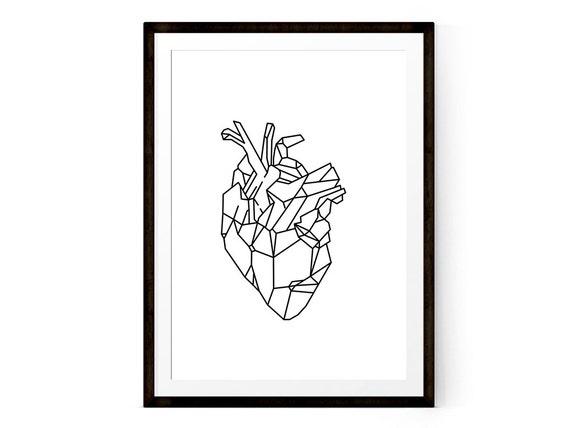 Geometrische Herz Druck druckbare geometrische Kunst | Etsy