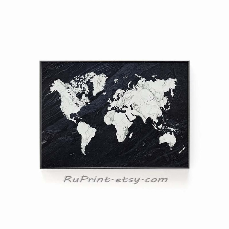 photo about World Map Black and White Printable named Worldwide Map Wall Artwork, Black And White Printable Marble Globe Map Poster