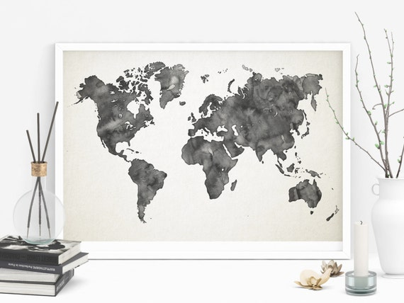 Printable grey watercolor world map world map poster office etsy image 0 gumiabroncs Images