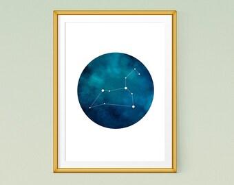 Leo zodiac art, Printable poster, Leo constellation print, Astrology art