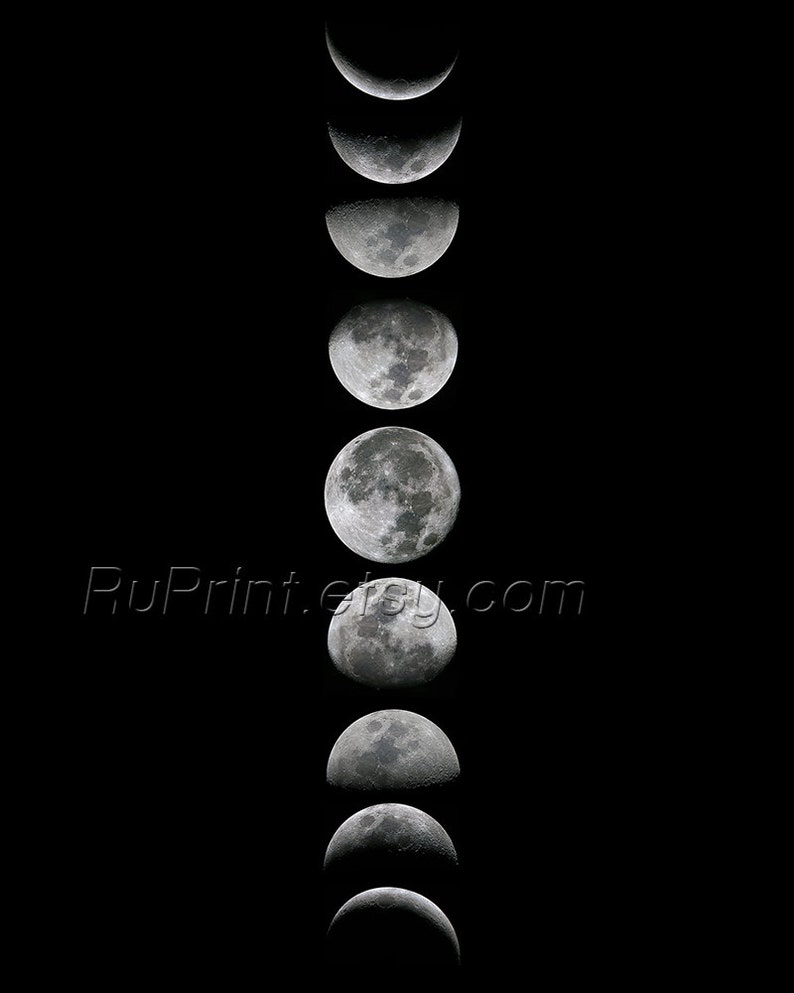 image regarding Printable Moon Phases named Moon move artwork, Printable Moon poster, Moon levels wall artwork, Black and white wall prints