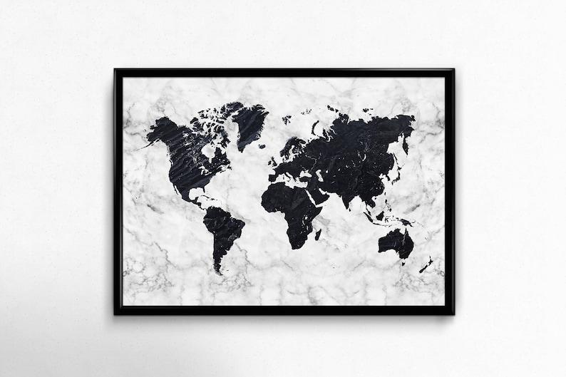 World Map Printable Art Black And White Marble Print Large Etsy