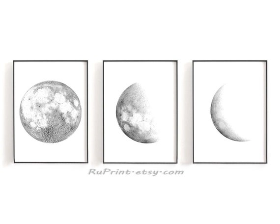 photo about Printable Moon Phases identified as Established of 3 Moon print, Moon levels print, Printable moon posters Minimalist Grey Black Moon Artwork House Decor 8x10\