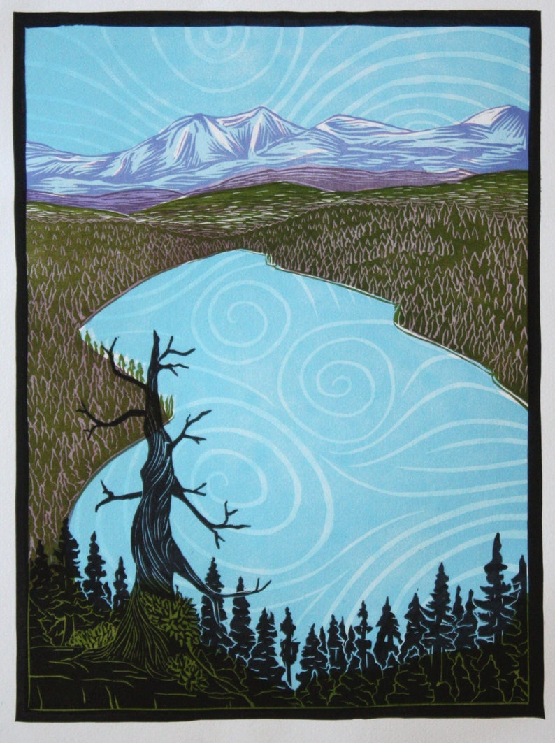 Above Donner Lake Multi-color Linocut Print image 0