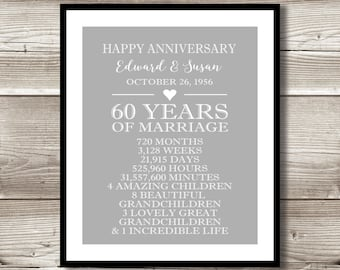 60 Year Anniversary Digital print; gift 60th Anniversary present; Personalized; milestone; diamond; gift for parents; gifts for grandparents