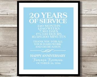 20 year work anniversary retirement print gift digital etsy