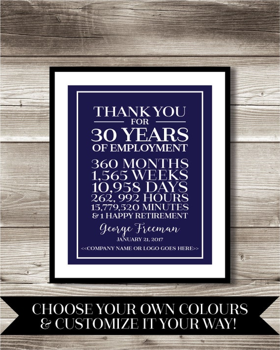 30 Year Work Anniversary Retirement Print Gift Digital Etsy
