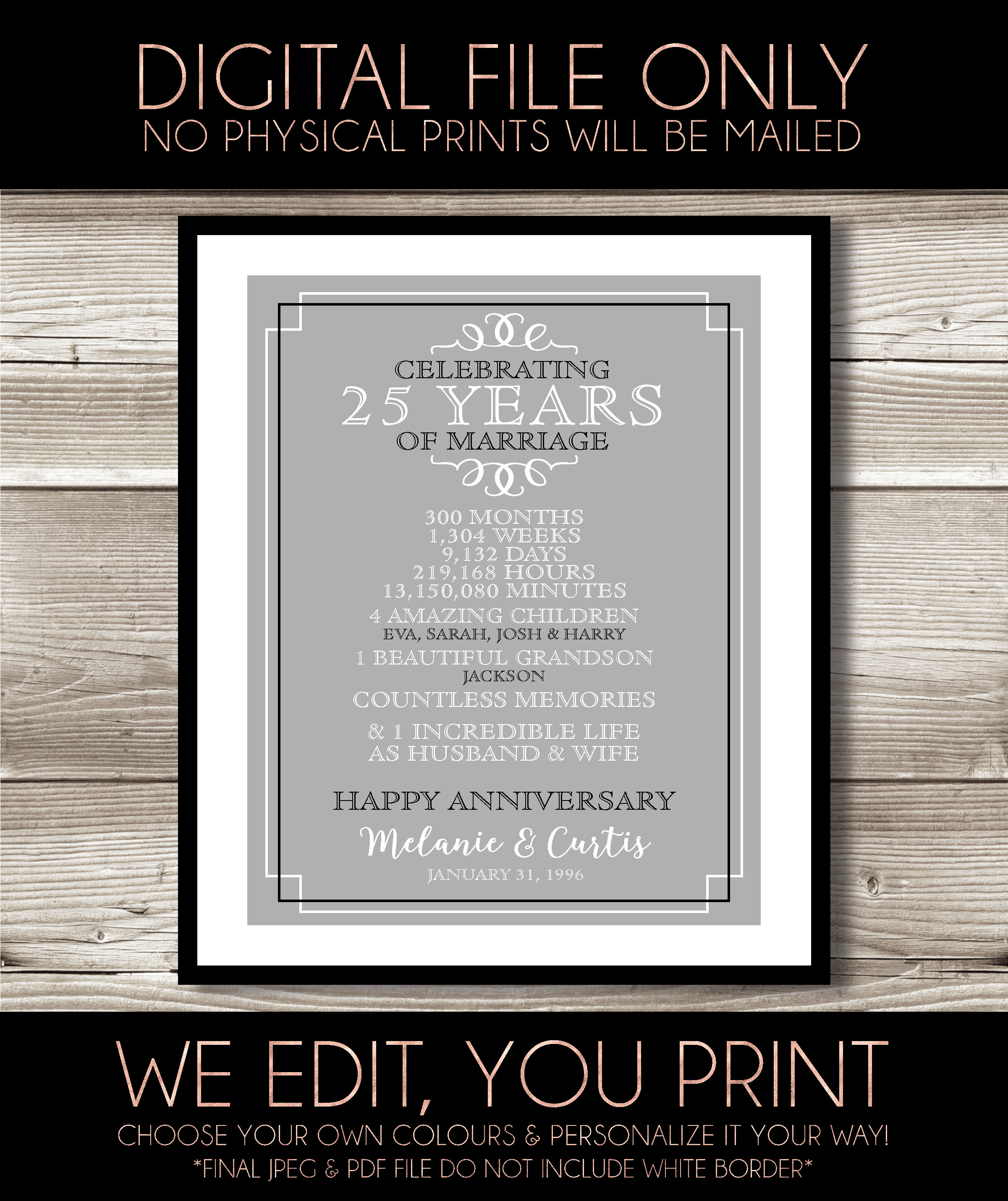 Last minute gift idea 25 Year Wedding Anniversary Printable spouse 25th Anniversary present for parents Keepsake gift Quick Turnaround